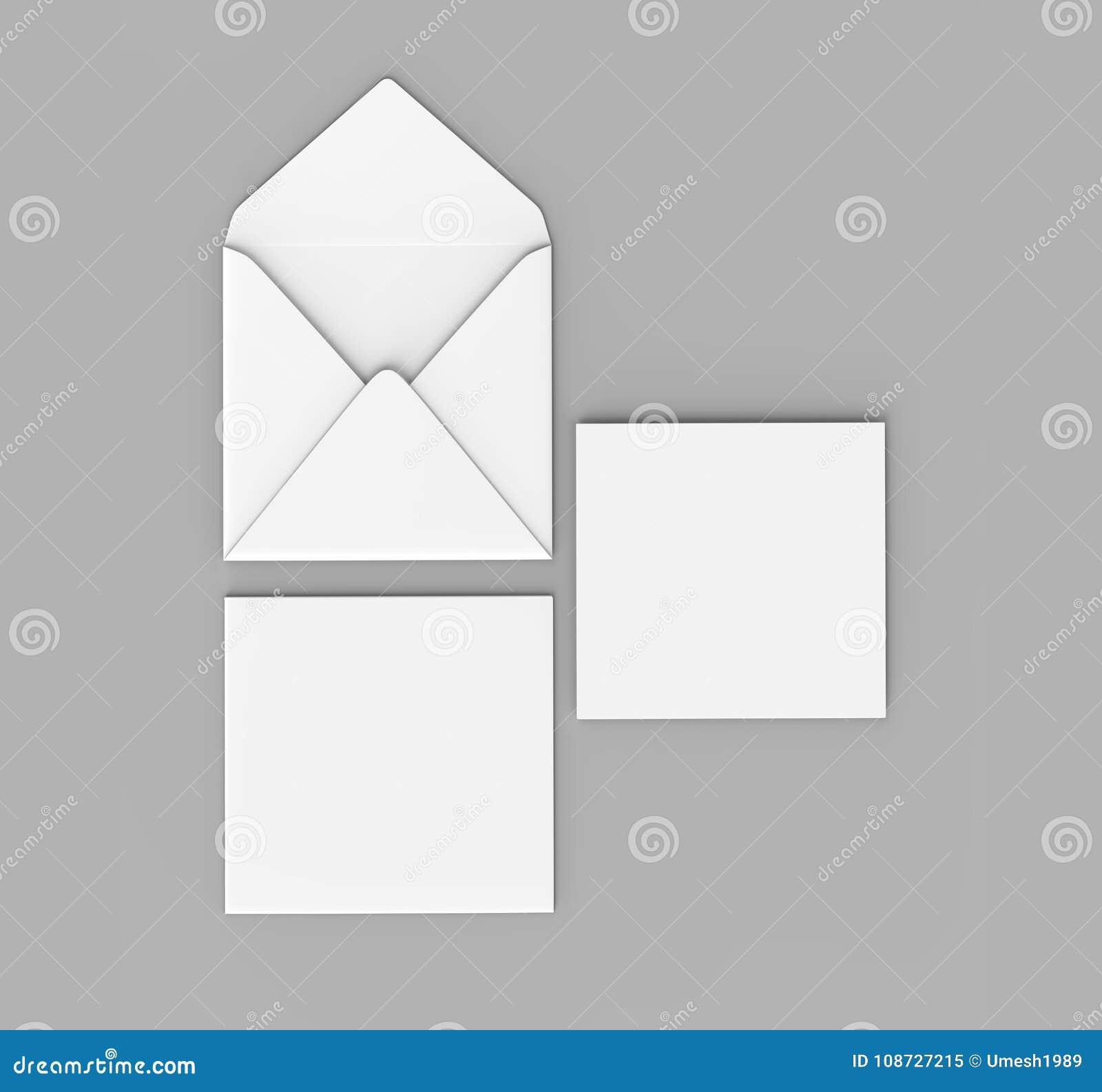 Os envelopes retos quadrados realísticos brancos vazios da aleta zombam acima ilustração da rendição 3d