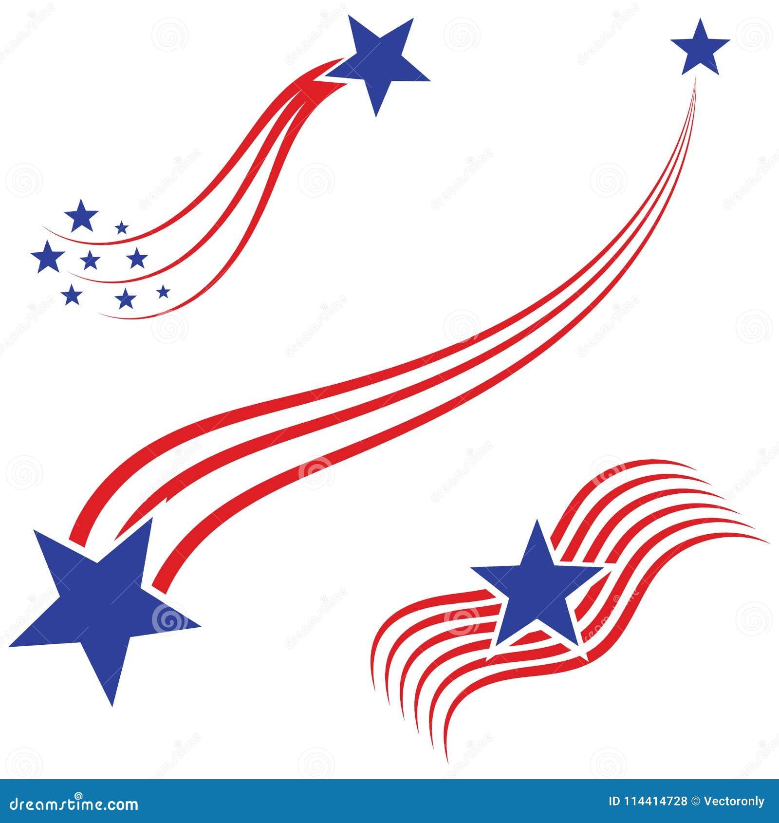 Os EUA embandeiram, ilustração do vetor dos elementos da bandeira americana