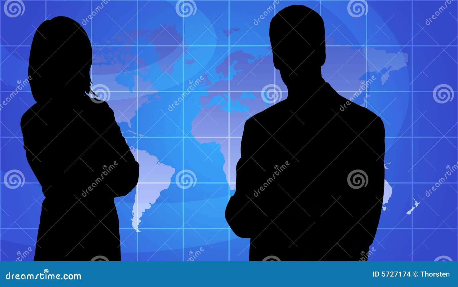 Os executivos mostram em silhueta, fundo do mapa de mundo