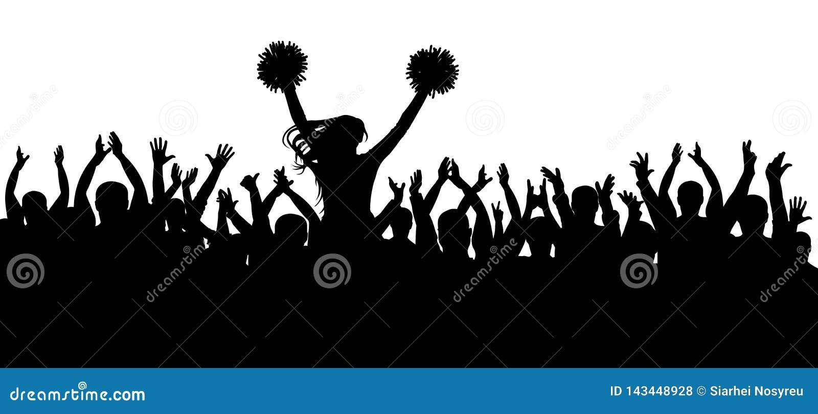 Os fãs que cheering junto com a silhueta do líder da claque multidão esporte Ilustração do vetor