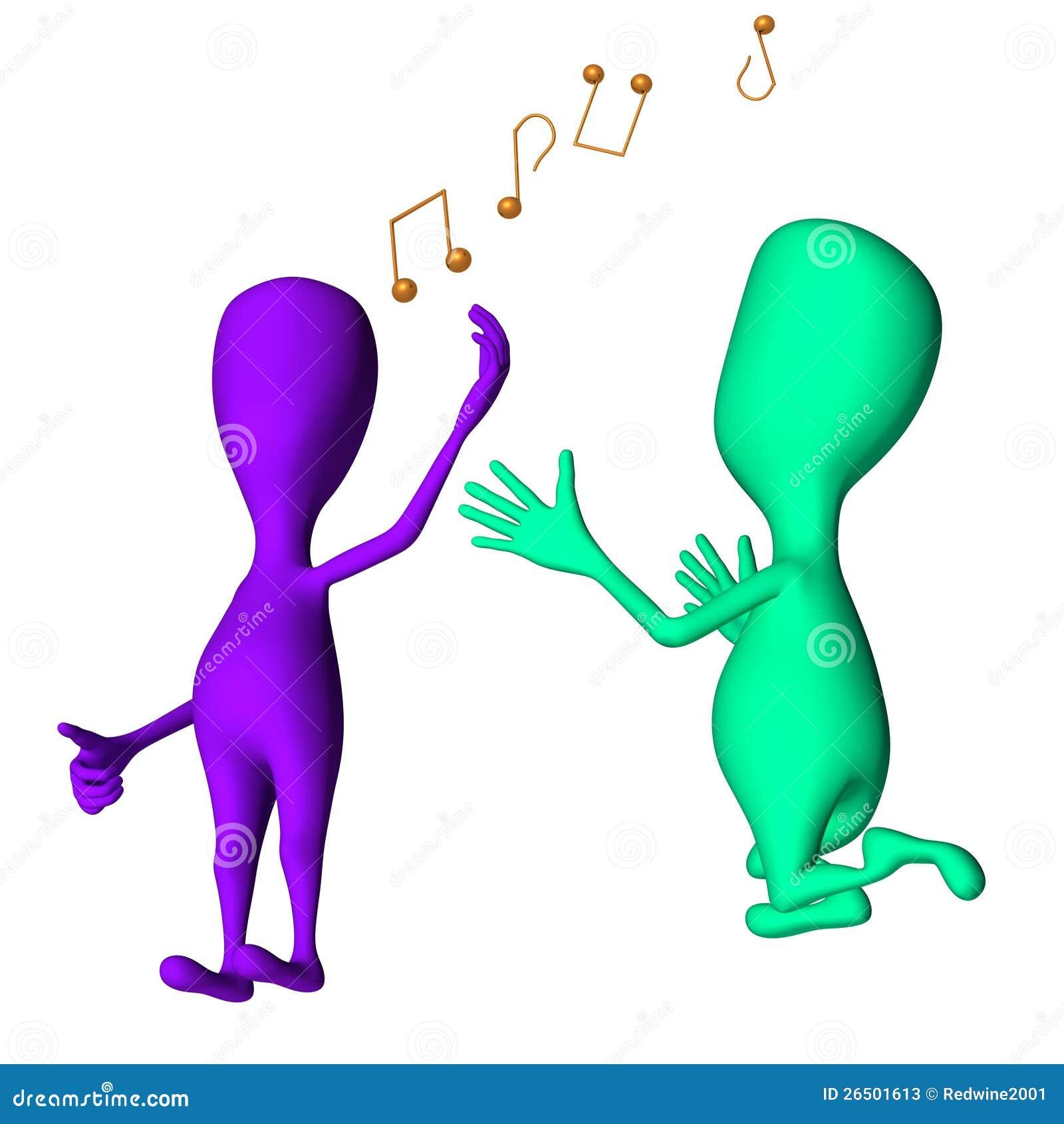 Os fantoches 3d diferentes que cantam e pedem outros