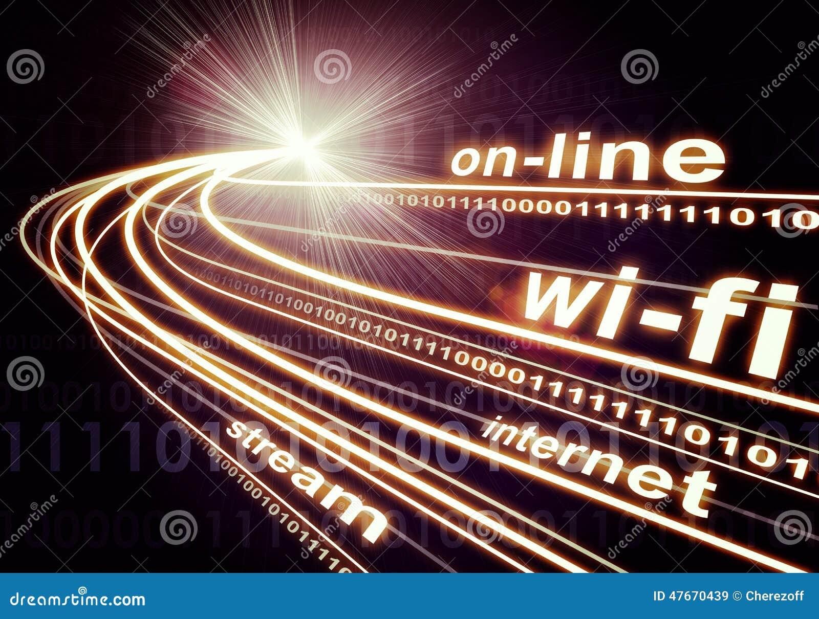 Os feixes luminosos, os dígitos e as palavras gostam do Internet, em