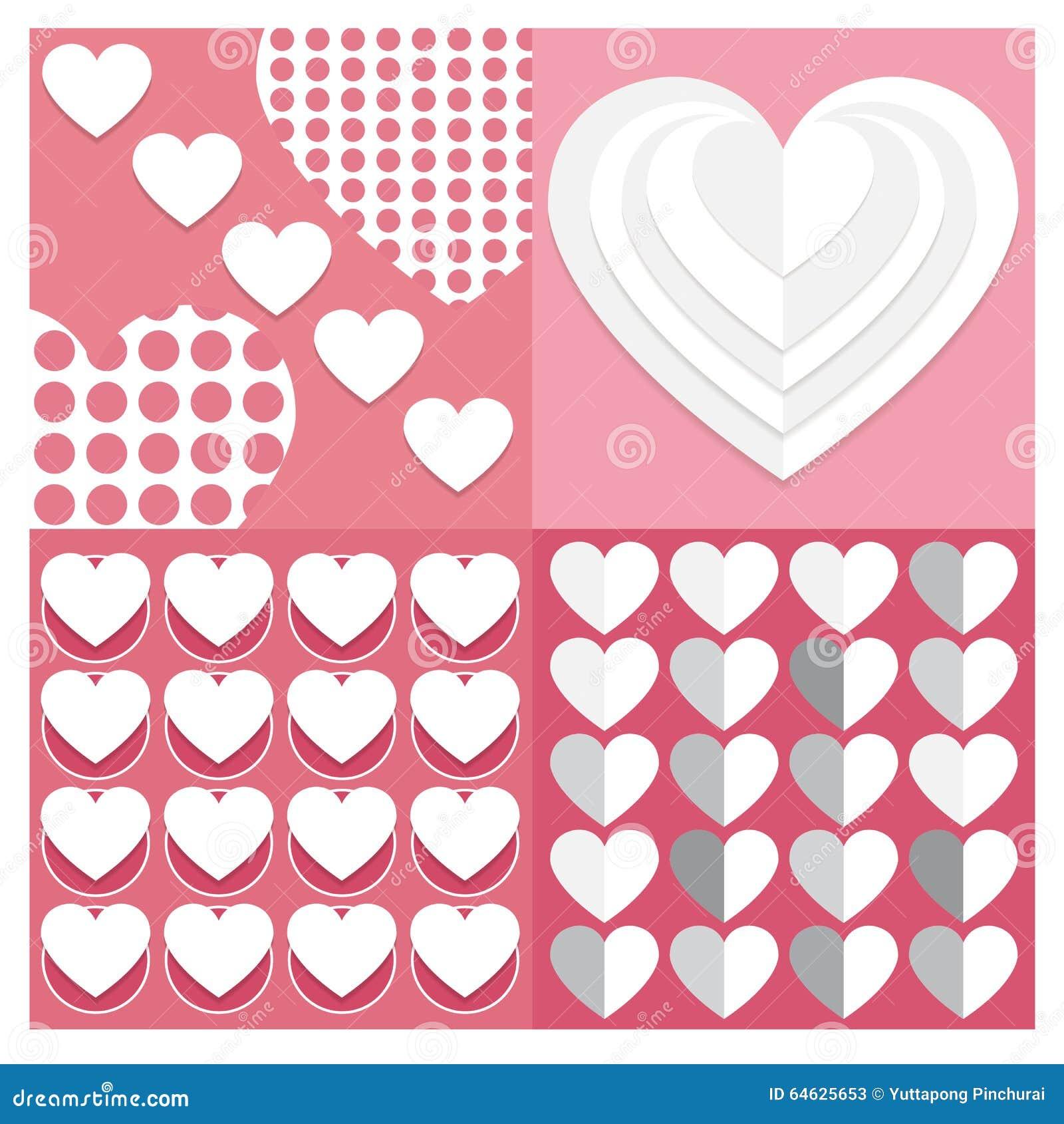 Os fundos Vector coração ajustado do Valentim do grupo de testes padrões sem emenda Ge