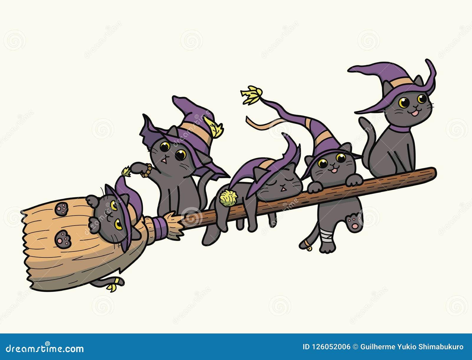 """Os gatos pretos da bruxa que voam em um †do cabo de vassoura """"vector desenhos animados"""