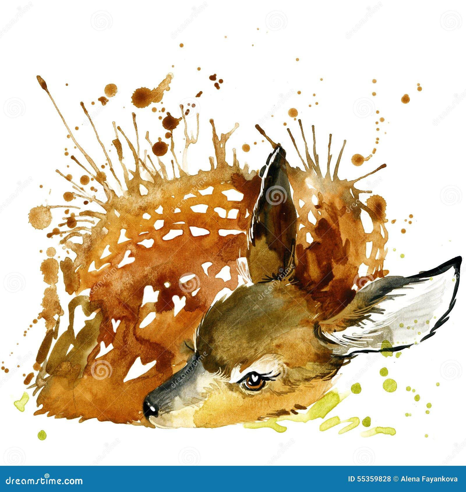 Os gráficos do t-shirt dos cervos, ilustração dos cervos com aquarela do respingo textured o fundo