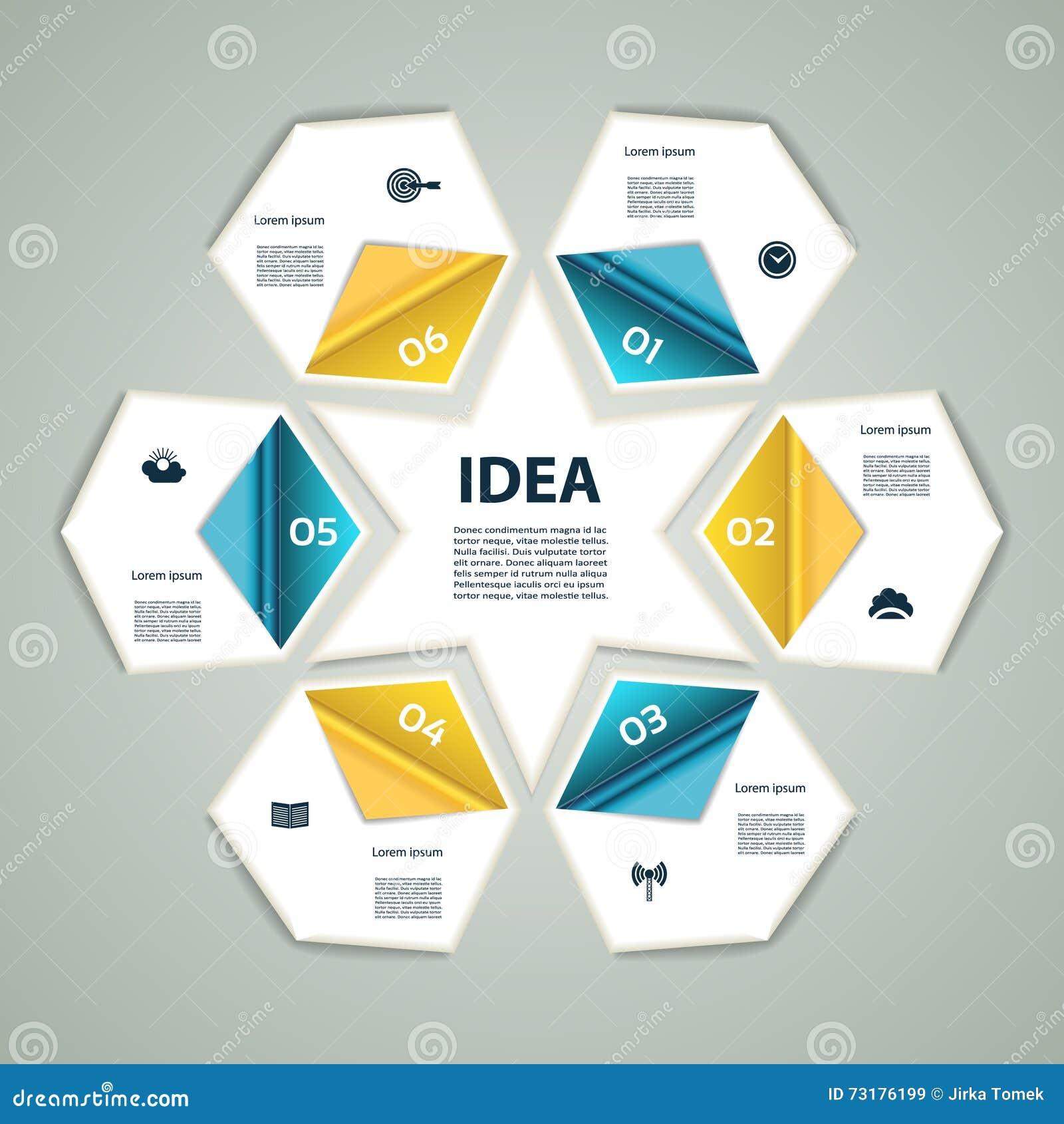 Os gráficos modernos da informação do processo 6-Step iluminam o fundo do vetor