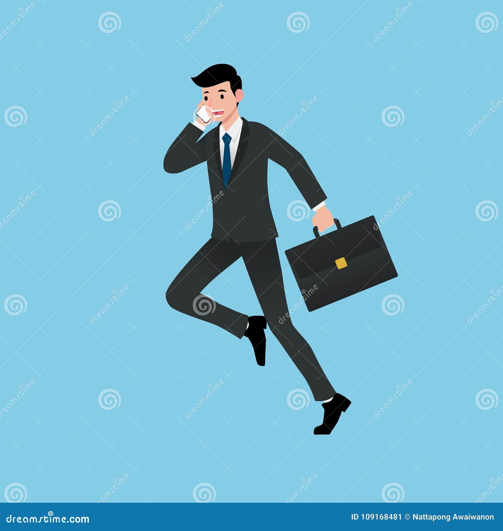 Os homens de negócios sorriem e correndo ao falar sobre o trabalho, apresentando o salário, explicando produtos, discutindo proje