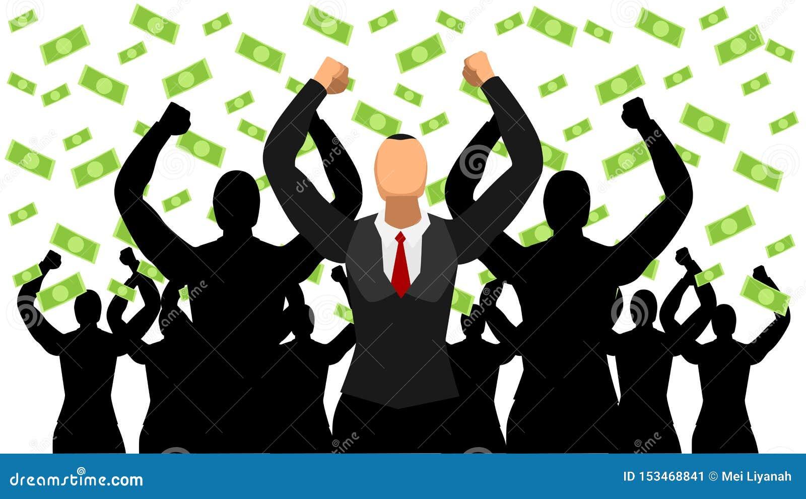 Os líderes ilustrados comemoram o sucesso da chuva do dólar car?ter liso