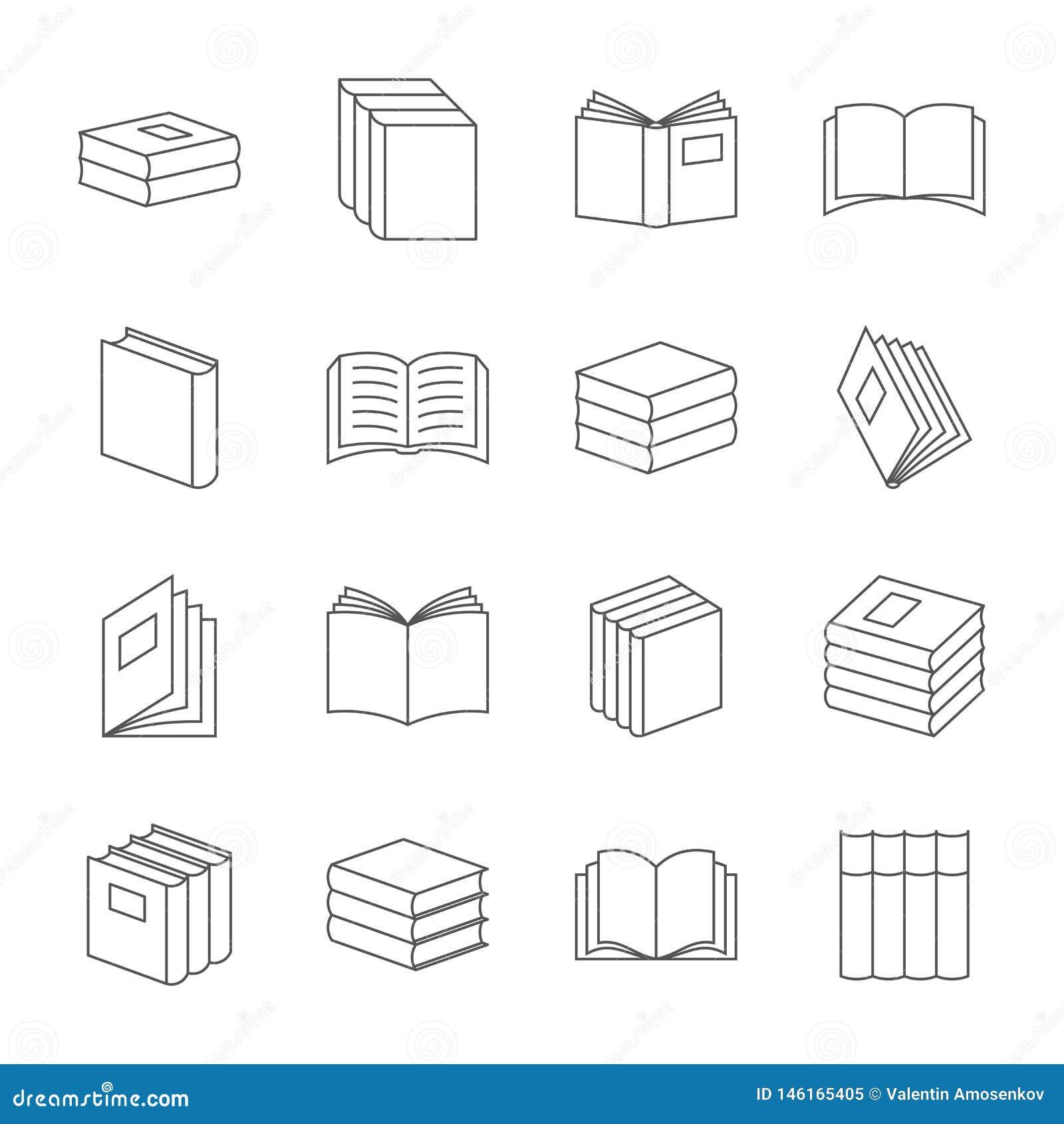 Os livros diluem a linha vetor dos ?cones Sinais da educa??o do livro, s?mbolos lineares da literatura do livro de texto