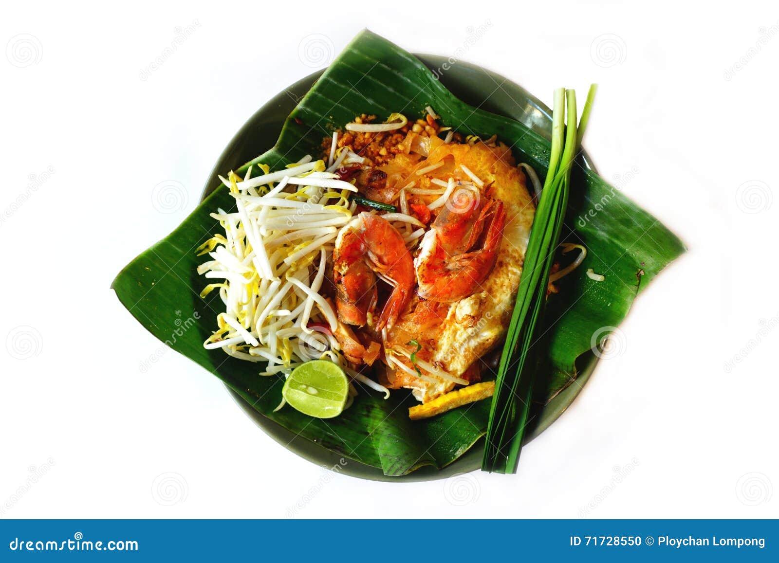 Os macarronetes tailandeses ou Padthai do estilo, decoram, vegetal, camarão