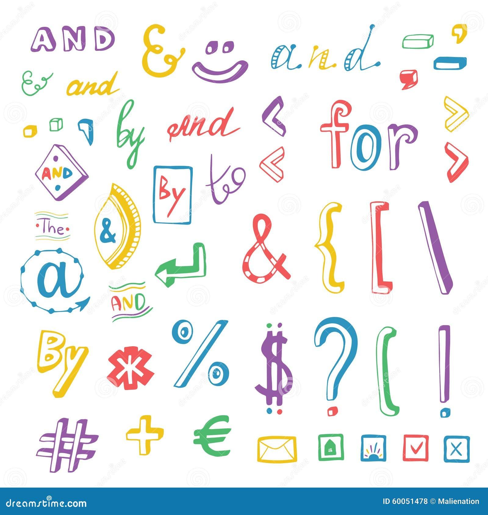 Os meios sociais coloridos assinam e as garatujas do símbolo ajustadas Lemas e, para, a, perto Elementos do projeto do vetor