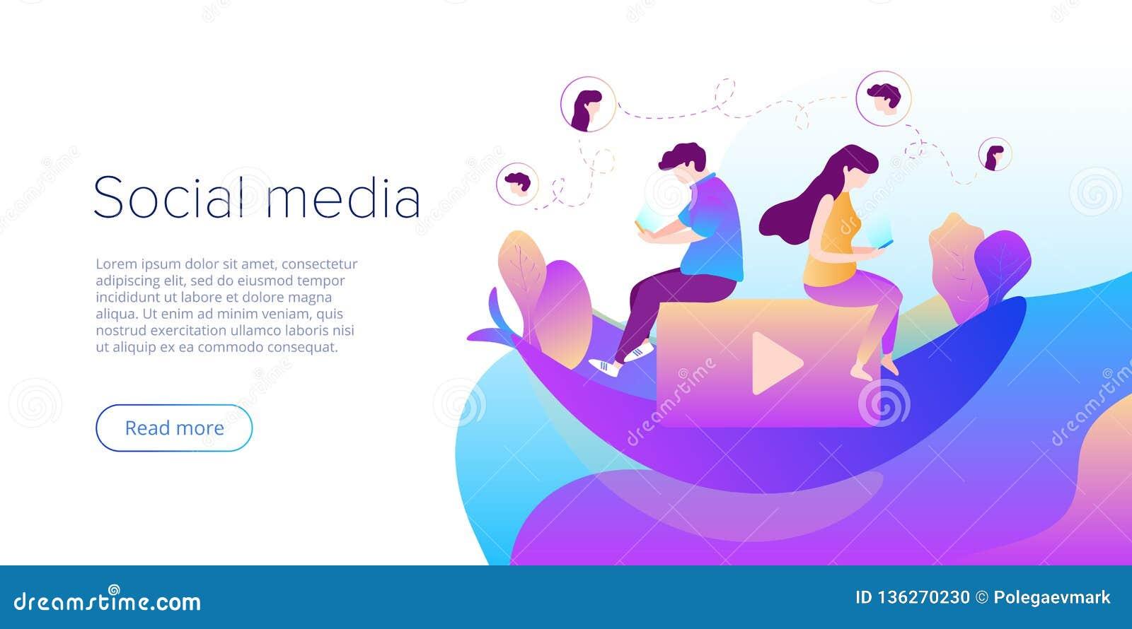 Os meios sociais conversam o conceito na ilustração do vetor Adolescentes usando smartphones para a conversação virtual, comparti
