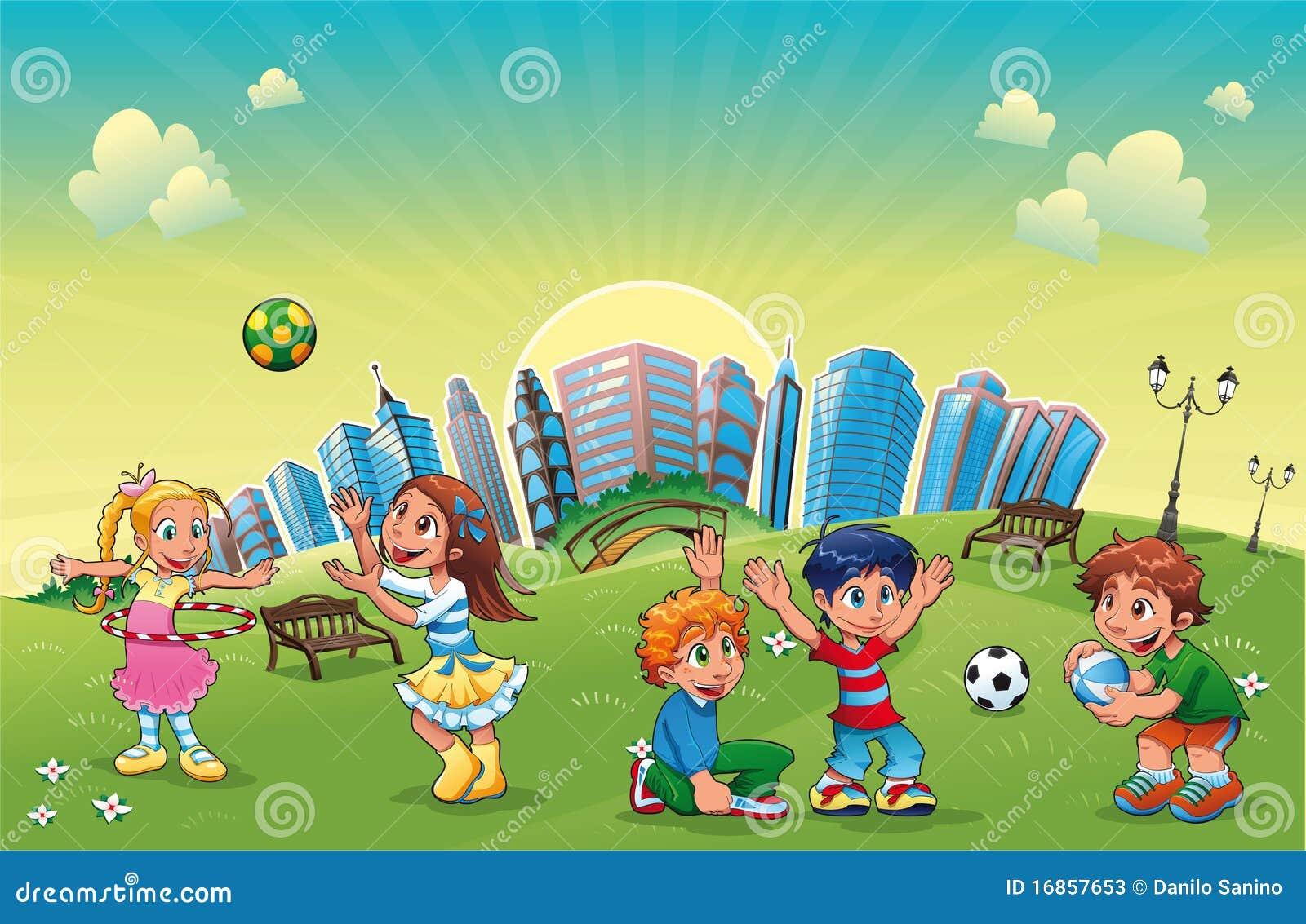 Os meninos e as meninas estão jogando no parque.
