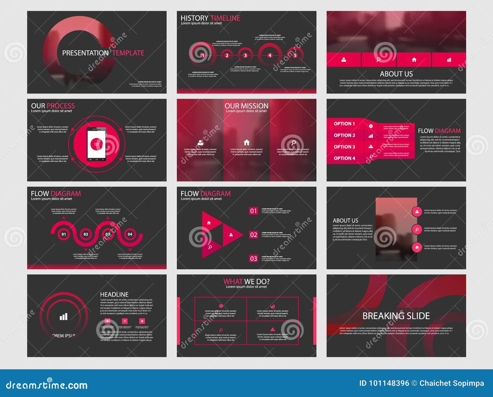 Os moldes abstratos vermelhos da apresentação do círculo, projeto liso do molde dos elementos de Infographic ajustaram-se para o