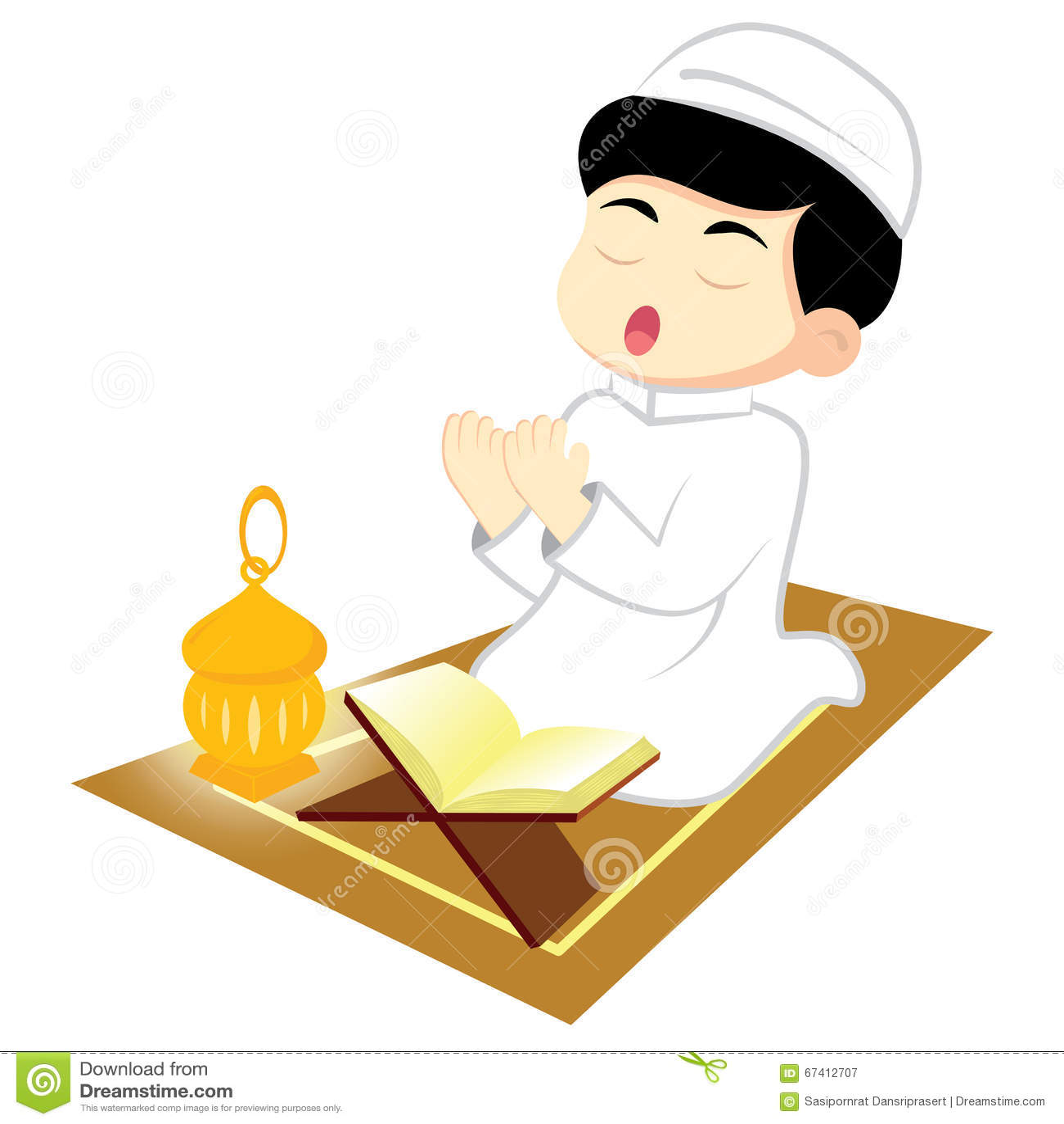Os muçulmanos do menino rezam