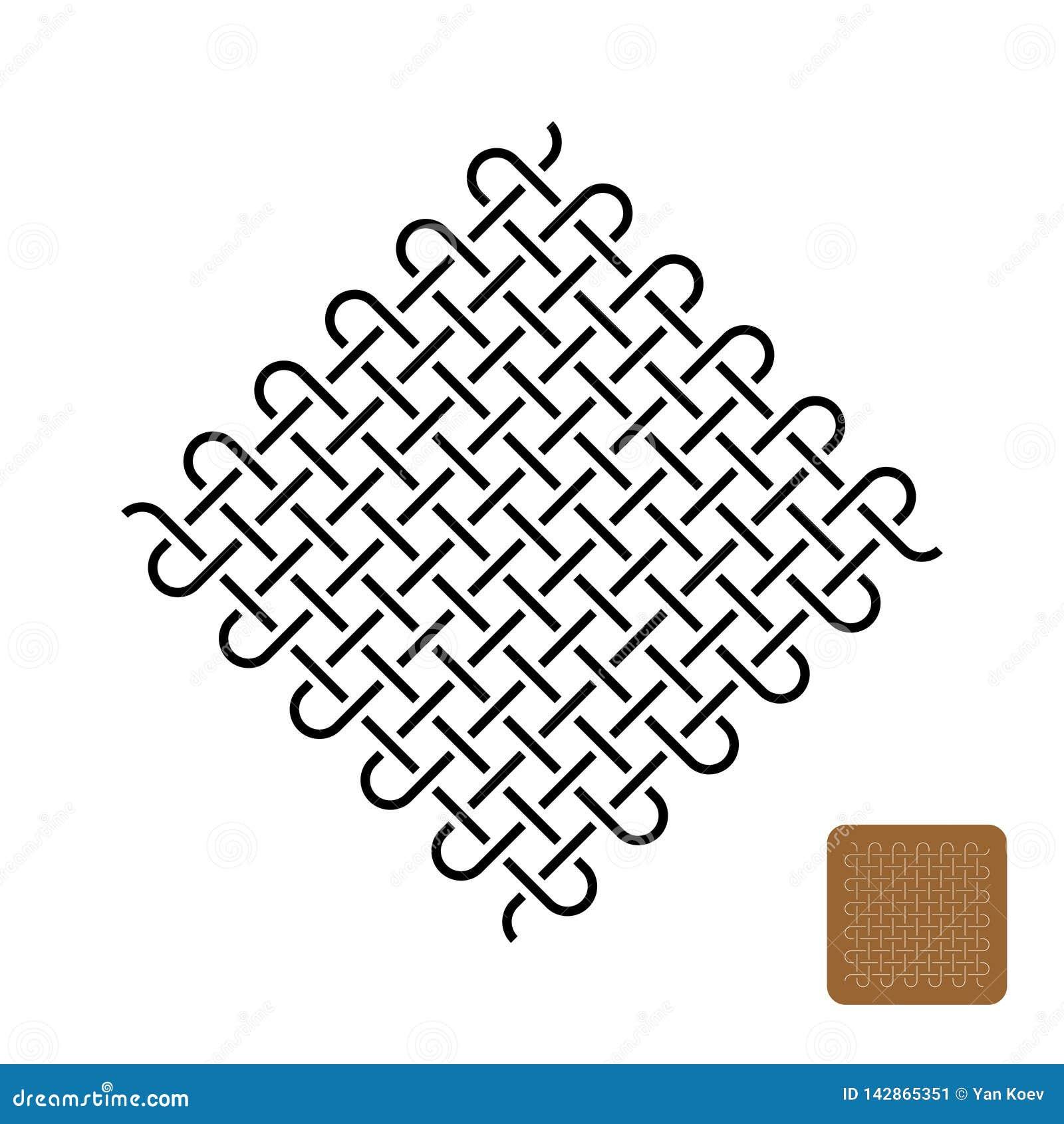 Os nós tecem a ilustração do símbolo Linhas apertadas tecidas símbolo