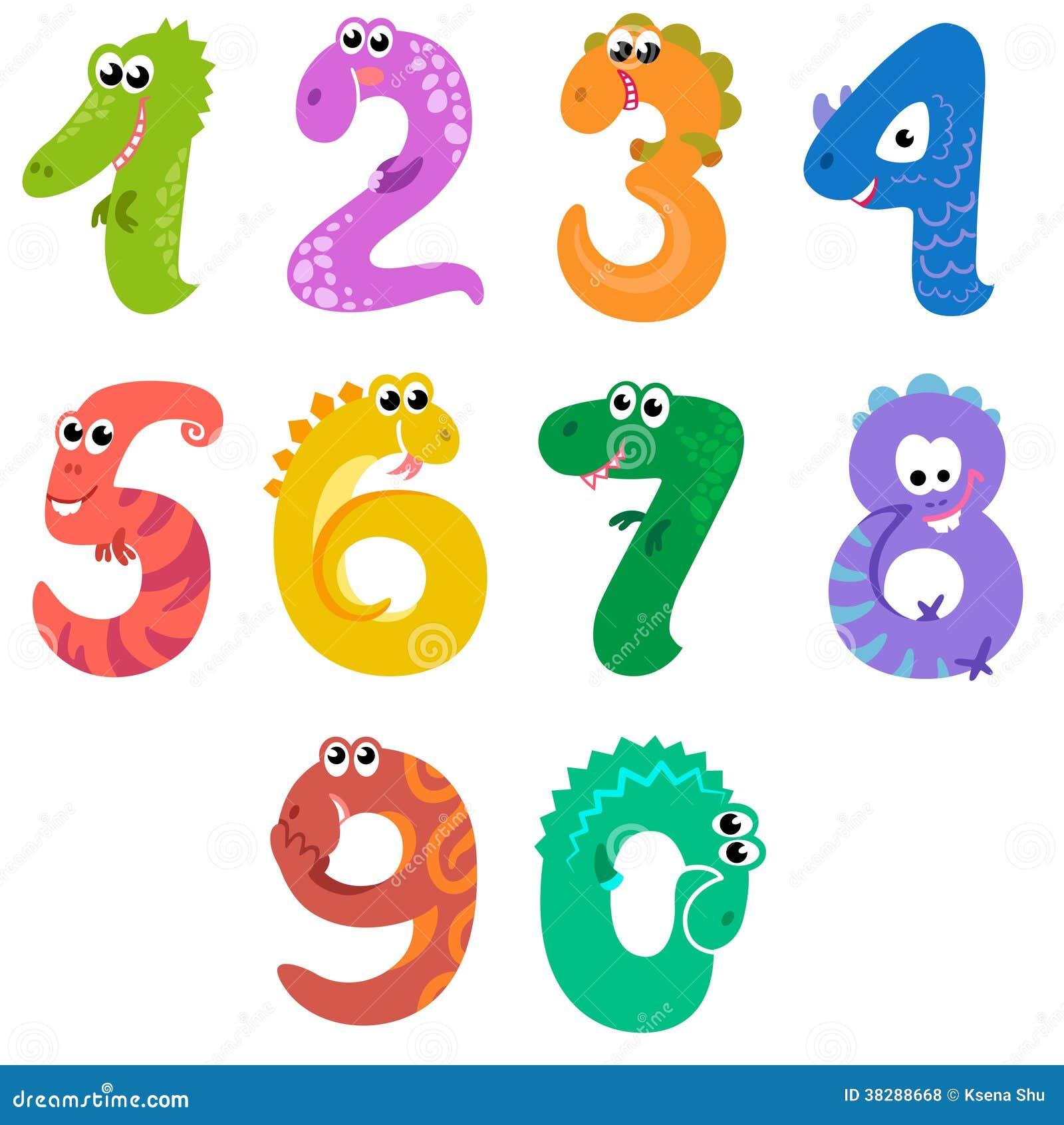 Os Números Gostam De Dinossauros Ilustração do Vetor ...