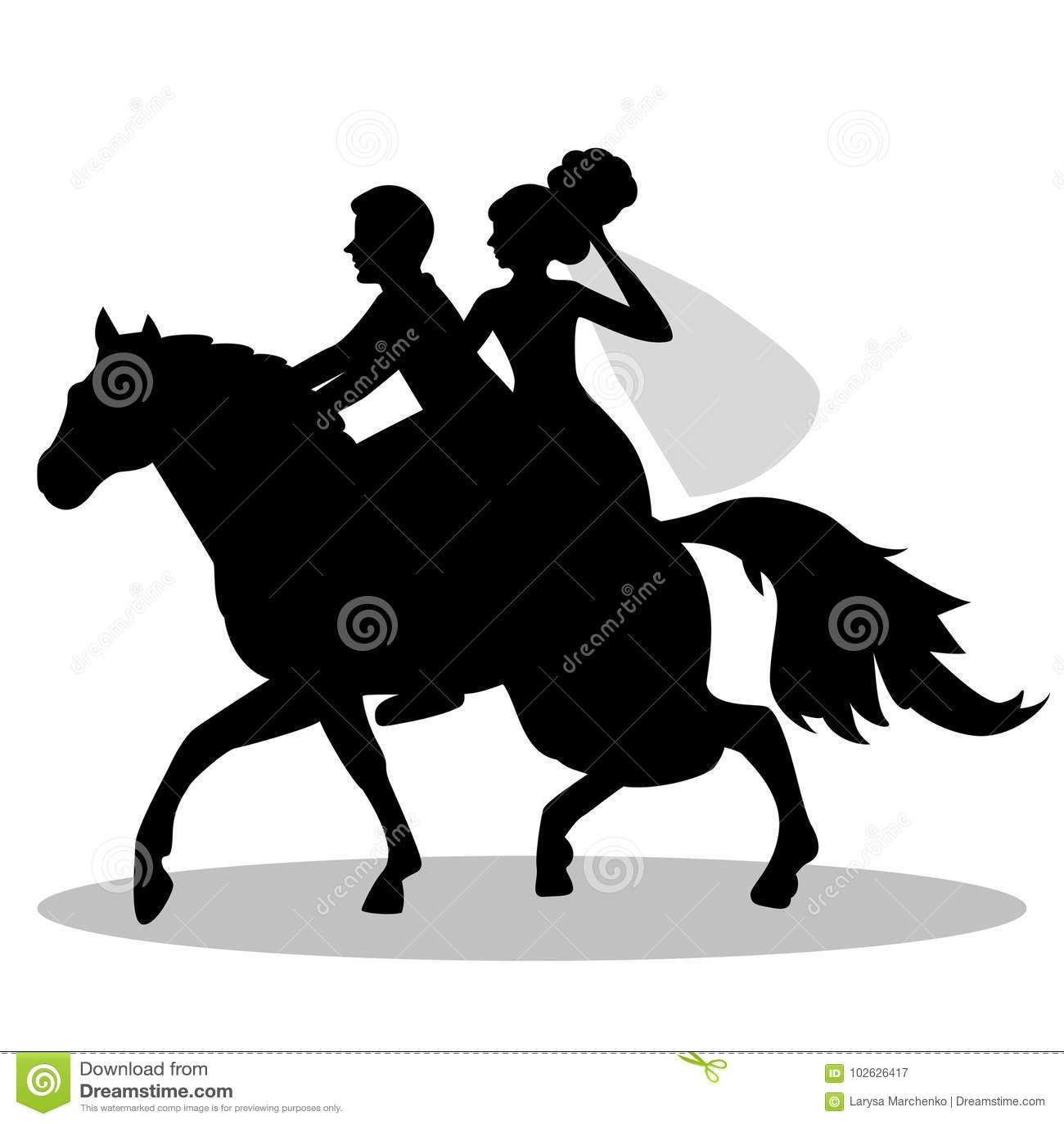 Os Noivos Em Um Cavalo Ilustracao Do Vetor Ilustracao De Preto