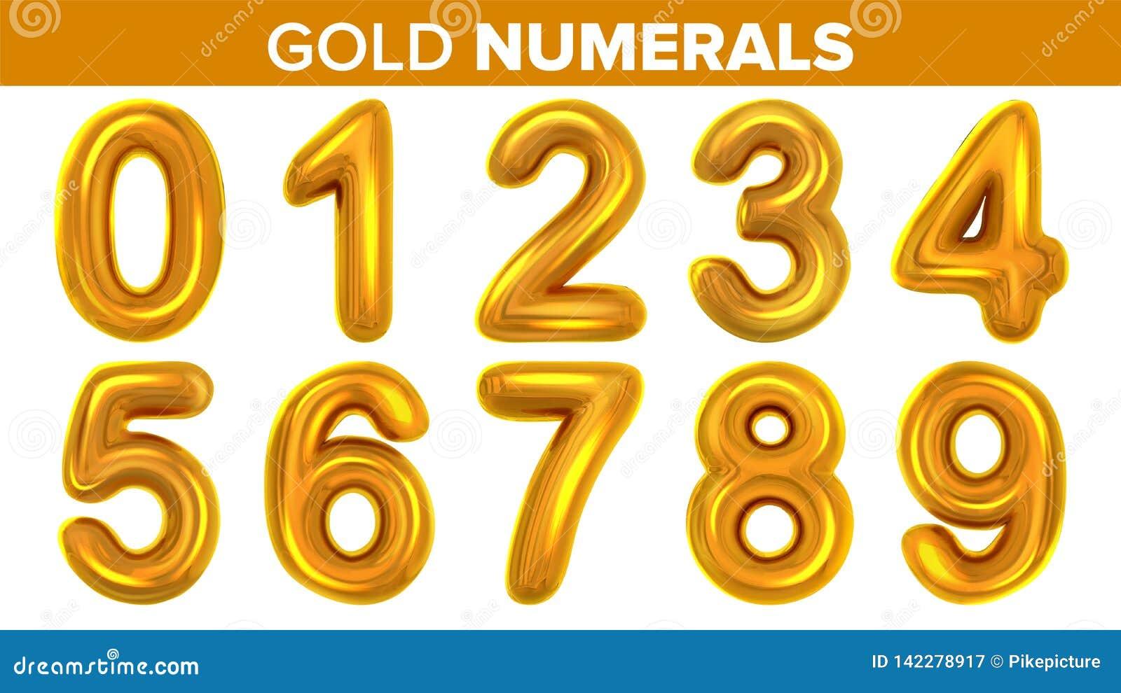 Os numerais do ouro ajustaram o vetor Letra dourada do metal amarelo Número 0 1 2 3 4 5 6 7 8 9 Fonte do alfabeto Projeto da tipo