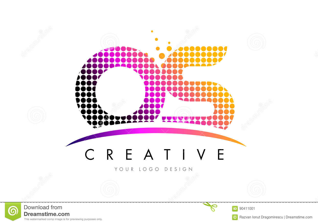 OS O S Letter Logo Design With Magenta Dots And Swoosh