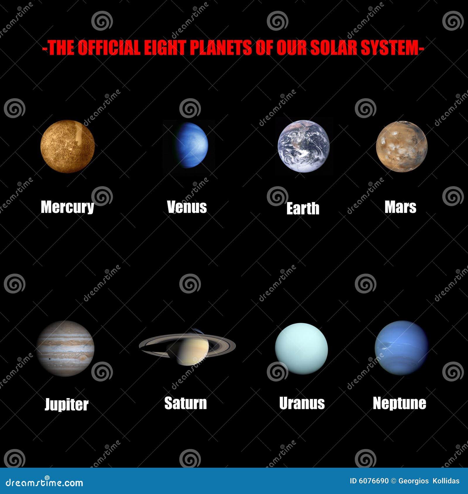 Amado Os Oito Planetas Oficiais De Nosso Sistema Solar Foto de Stock  KT68