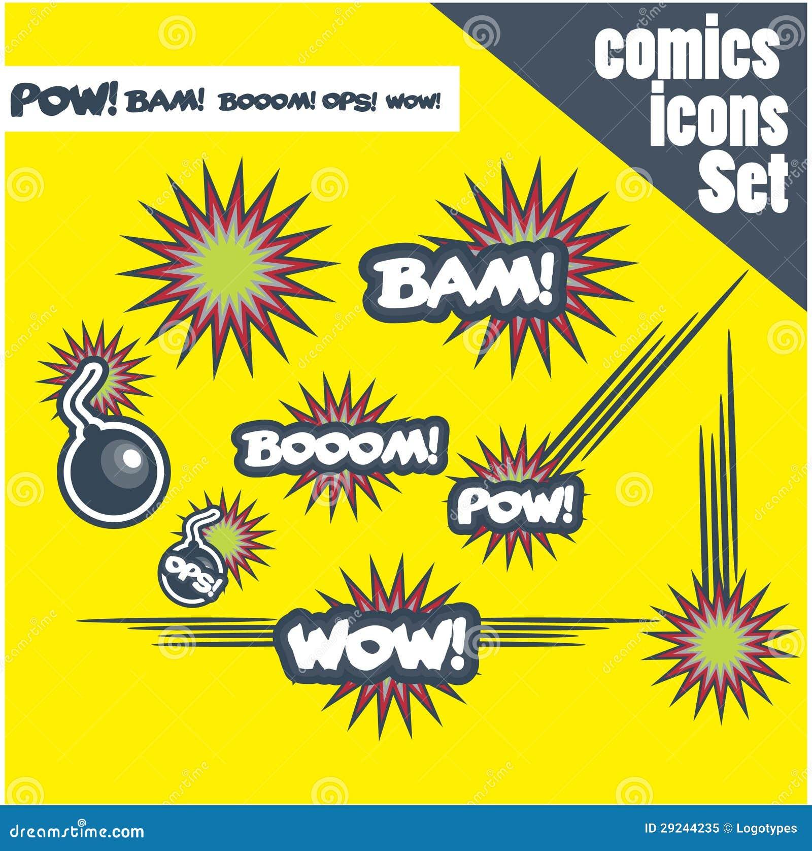 Download Os Ops Do Prisioneiro De Guerra Do Bam Do Crescimento Das Bombas Do Estilo Da Banda Desenhada Uau Explodem Ilustração Stock - Ilustração de bomba, nuvem: 29244235
