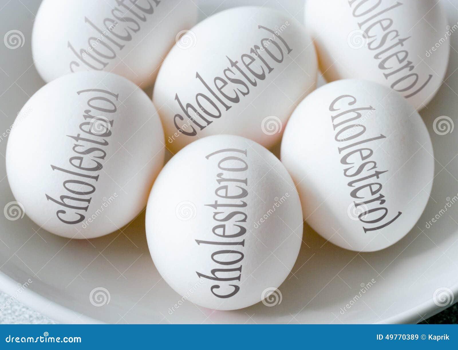 Os ovos brancos com colesterol text - a saúde e o estilo de vida saudável