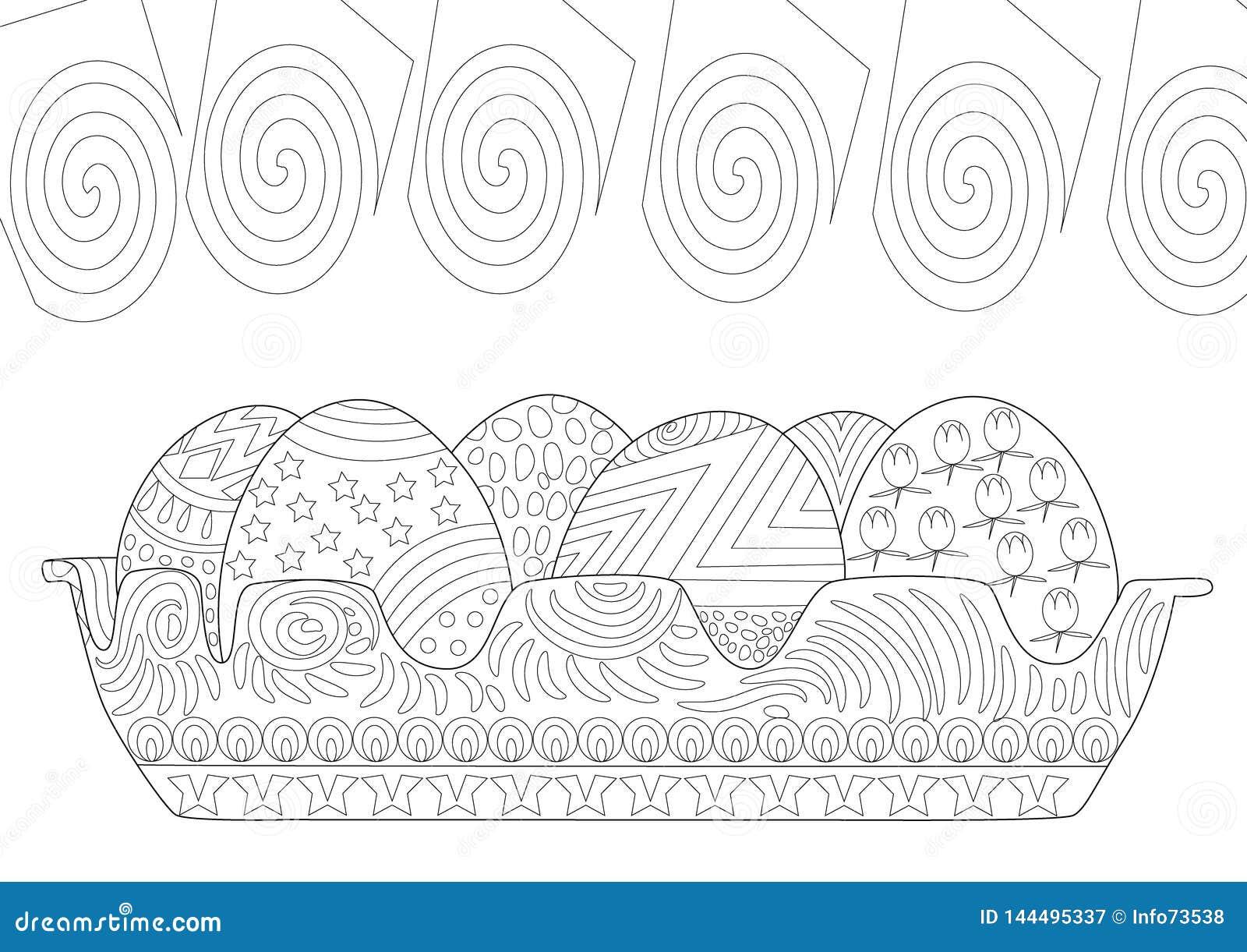 Os ovos da páscoa deitam no a lápis página colorindo de Zentangle do desenho