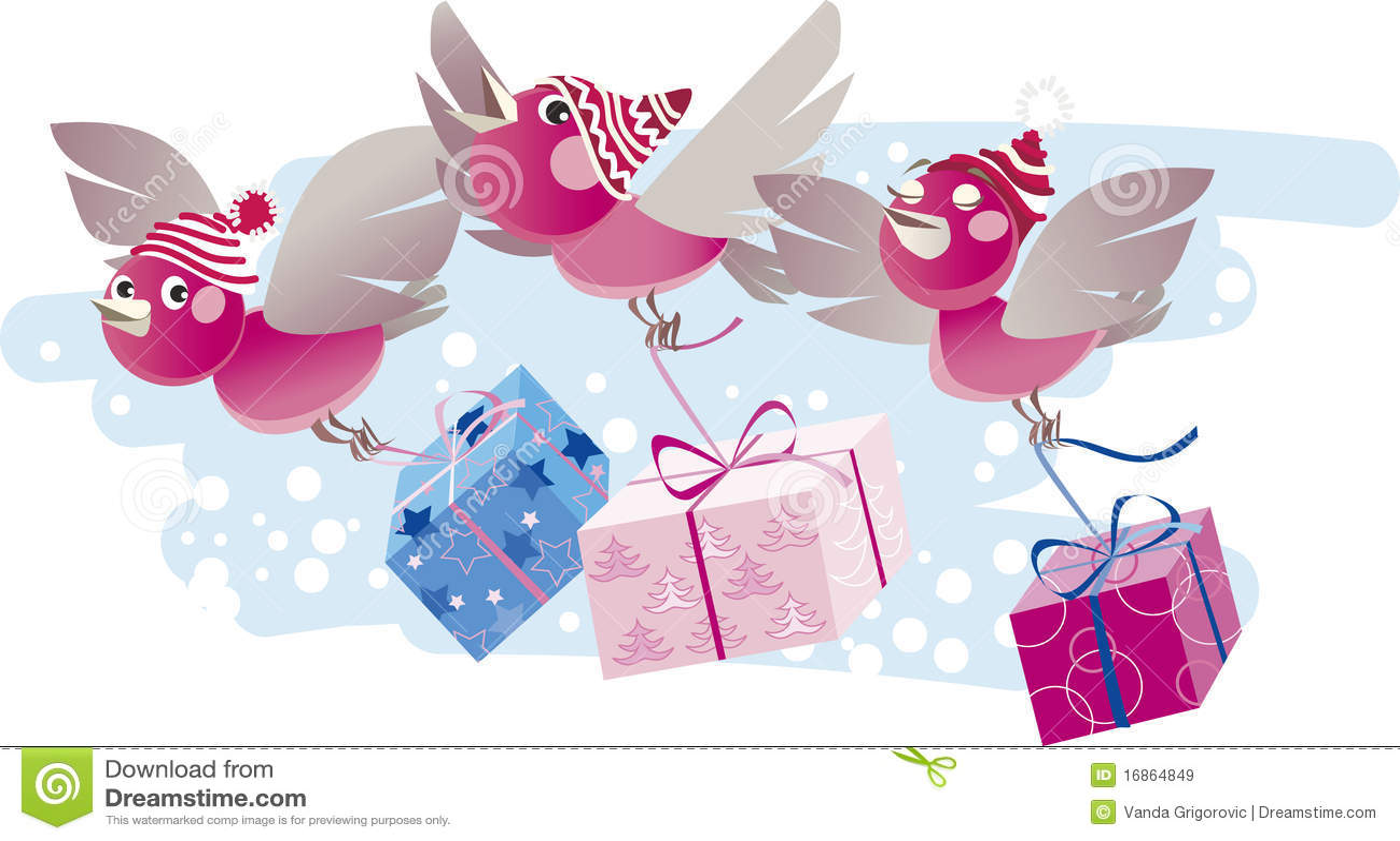 Os pássaros do Natal trazem presentes
