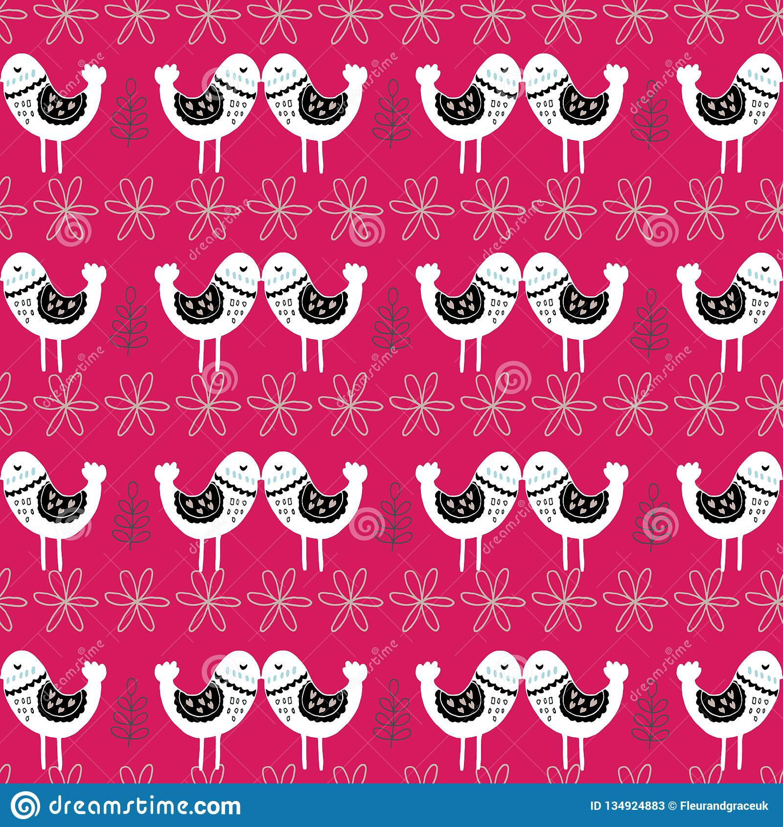 Os pássaros escandinavos cor-de-rosa do amor modelam o projeto