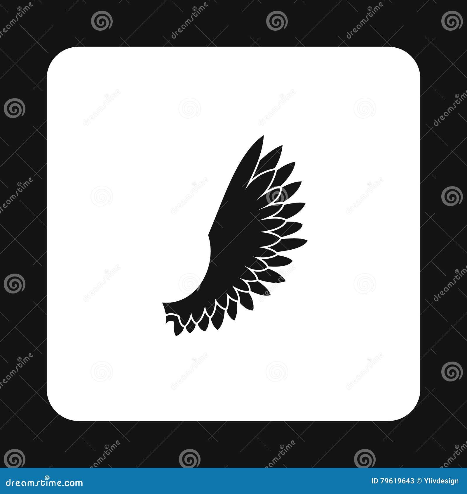 Os pássaros macios voam com ícone das penas, estilo simples