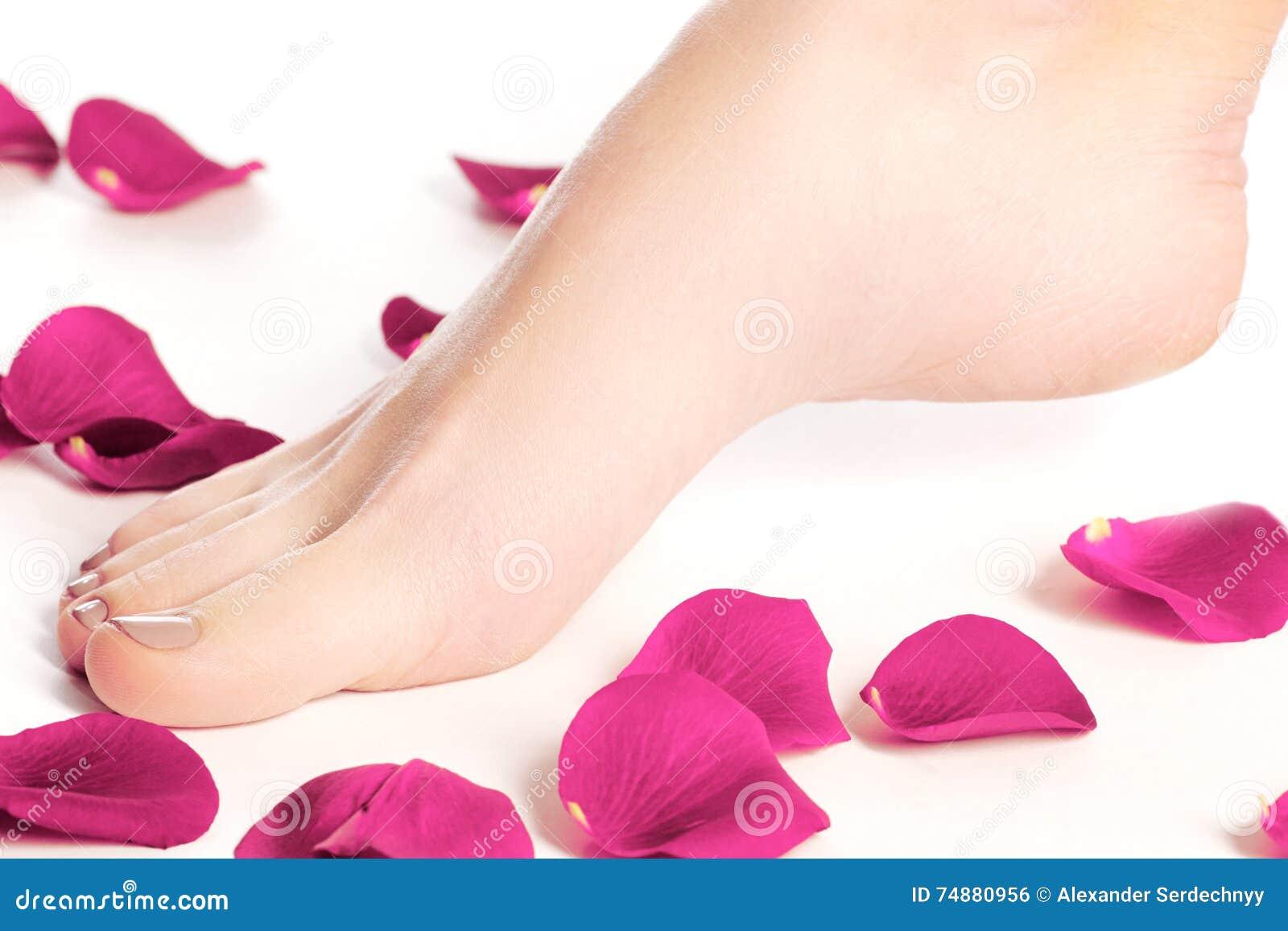 Os pés da mulher saudável Pés isolados no branco Mulher bonita le