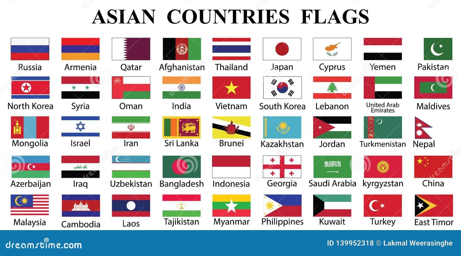 Os países asiáticos embandeiram a coleção