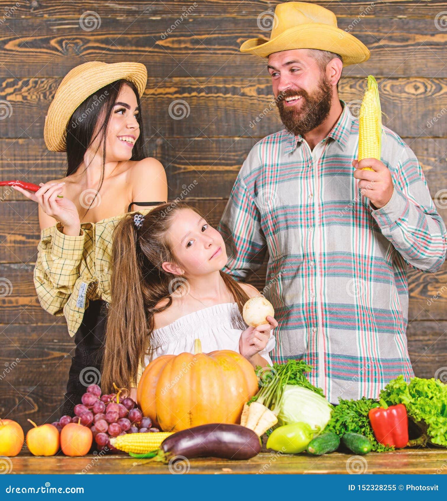 Os pais e a filha comemoram o festival da colheita do outono Fazendeiros r?sticos do estilo da fam?lia no mercado com frutos dos