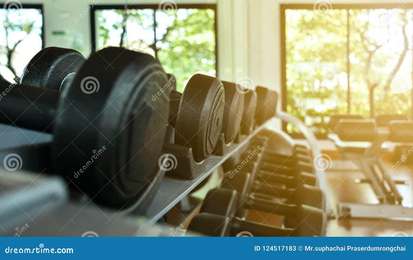 Os pesos encontram-se em seguido na cremalheira do inventário no gym ou no fitness center