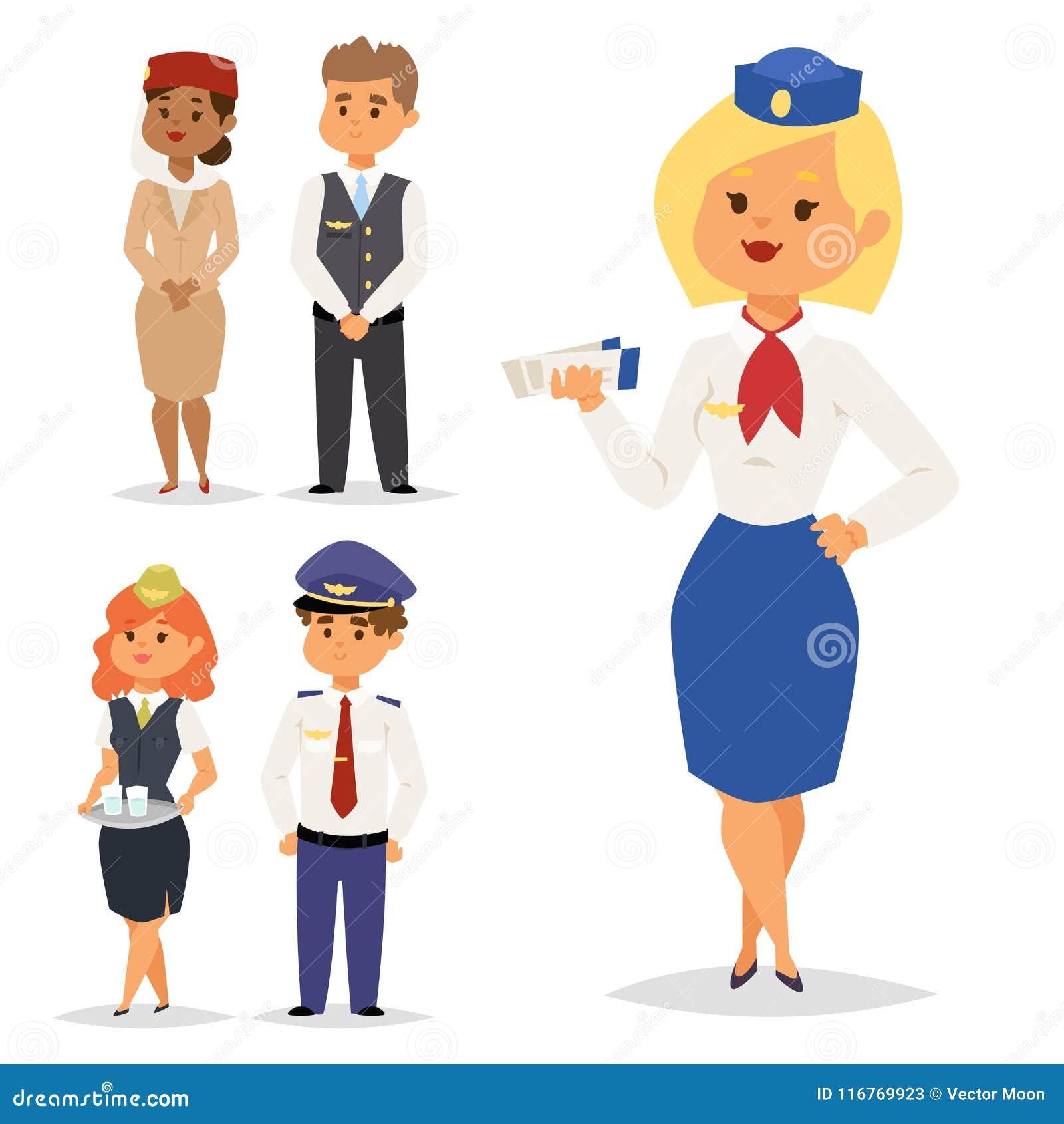 Os pilotos e a comissária de bordo vector povos dos aeromoços da aeromoça de ar do pessoal de pessoais do plano do caráter da lin