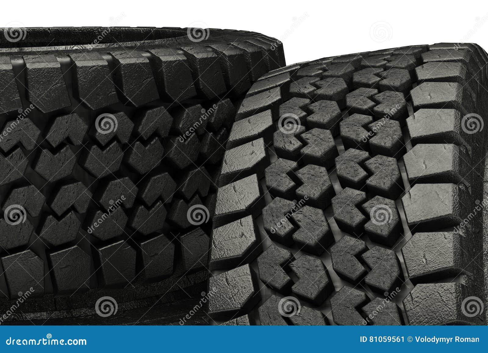 Os pneus do inverno da ilustração 3d fecham-se acima do isolado
