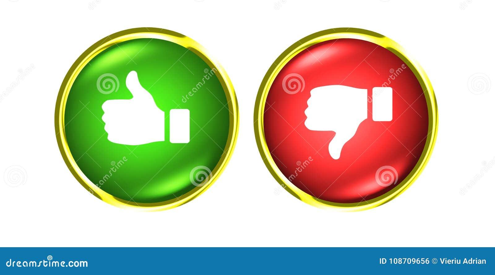 Os polegares para cima e para baixo o ouro abotoam-se como o verde vermelho do desagrado