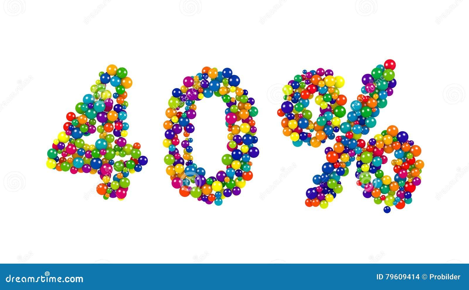 Os 40 por cento brilhantes coloridos assinam dentro cores do arco-íris