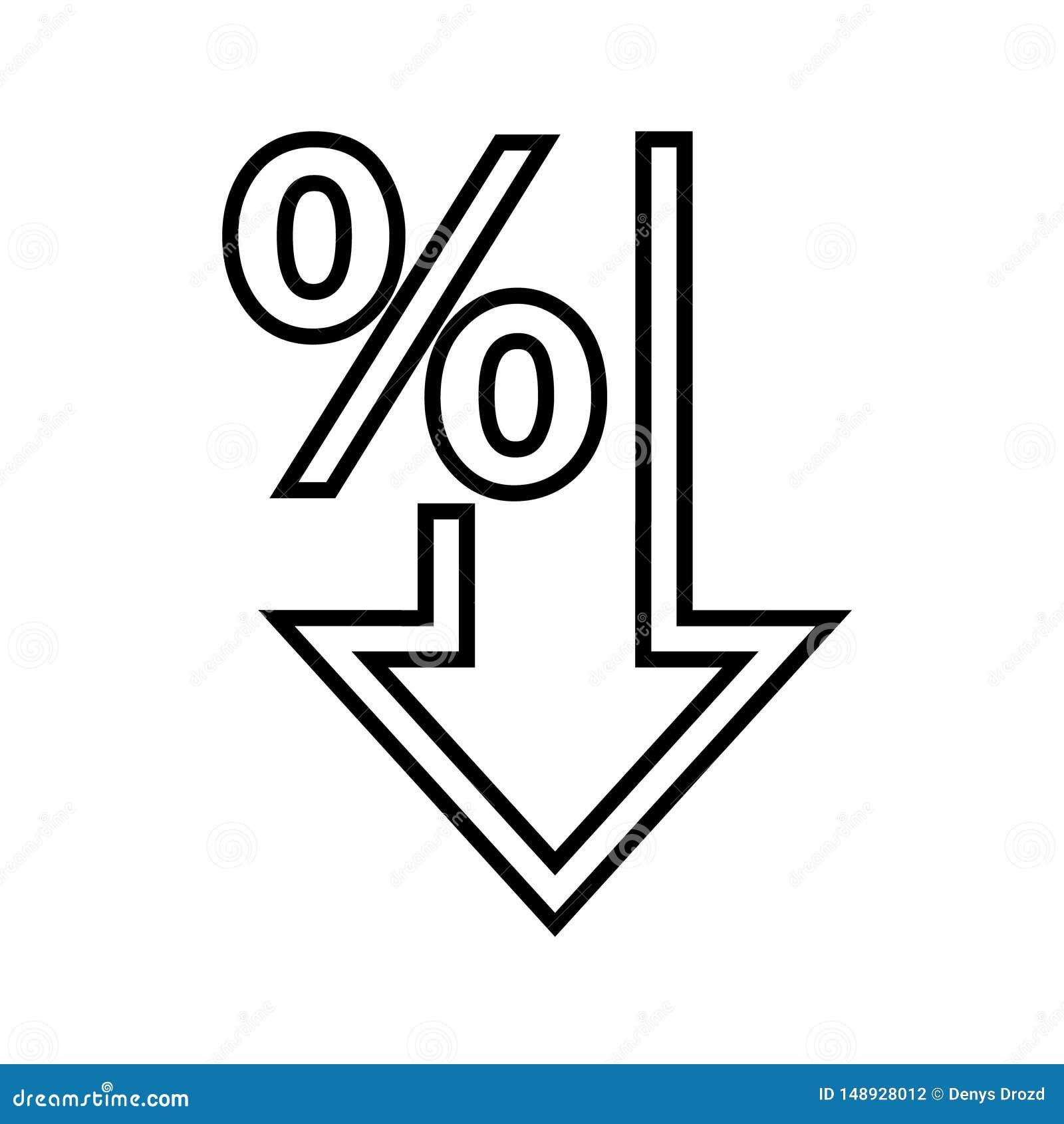 Os por cento vector para baixo o ?cone Porcentagem, seta, redu??o - ilustra??o