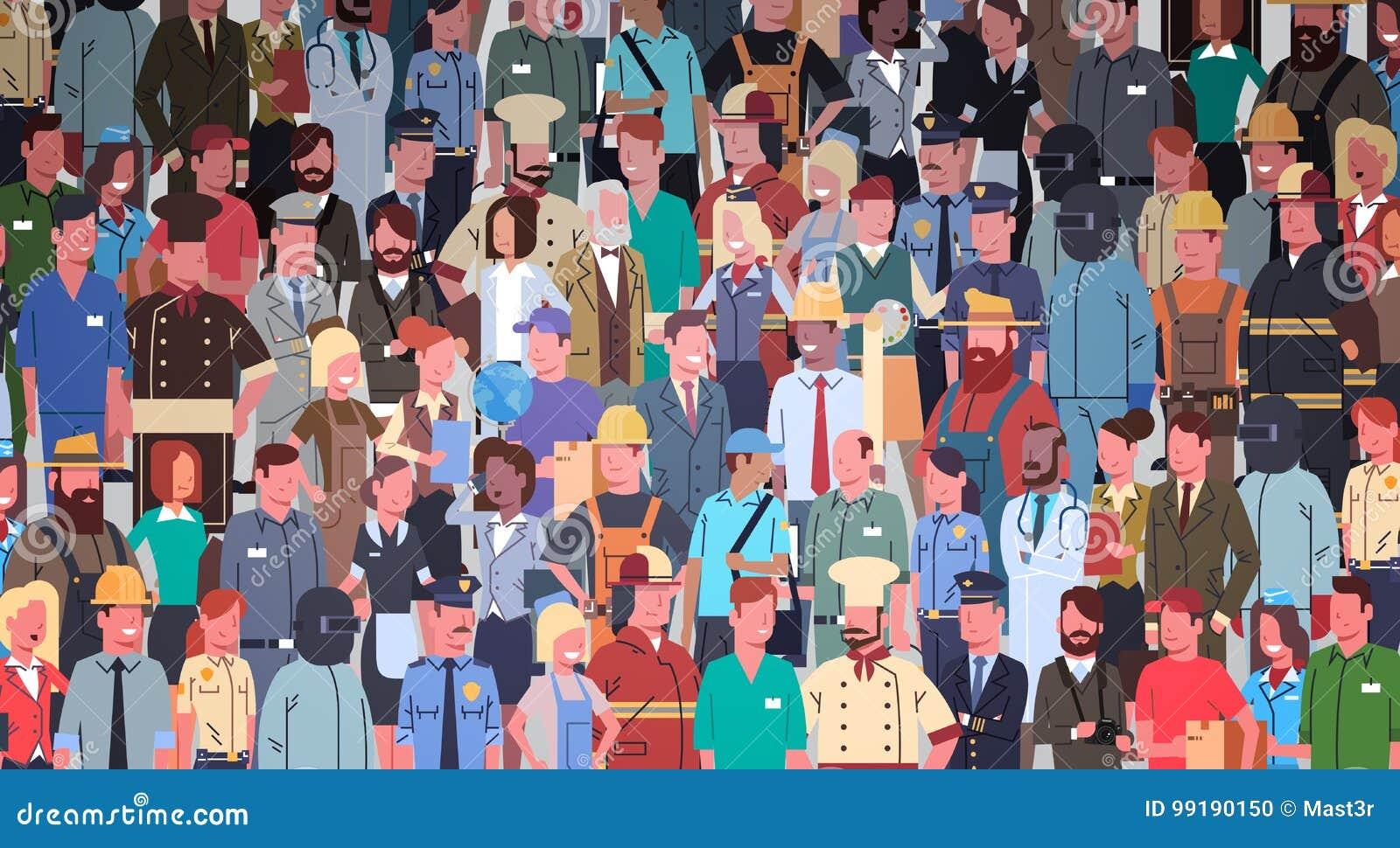 Os povos agrupam o grupo diferente da ocupação, bandeira dos trabalhadores da raça da mistura dos empregados