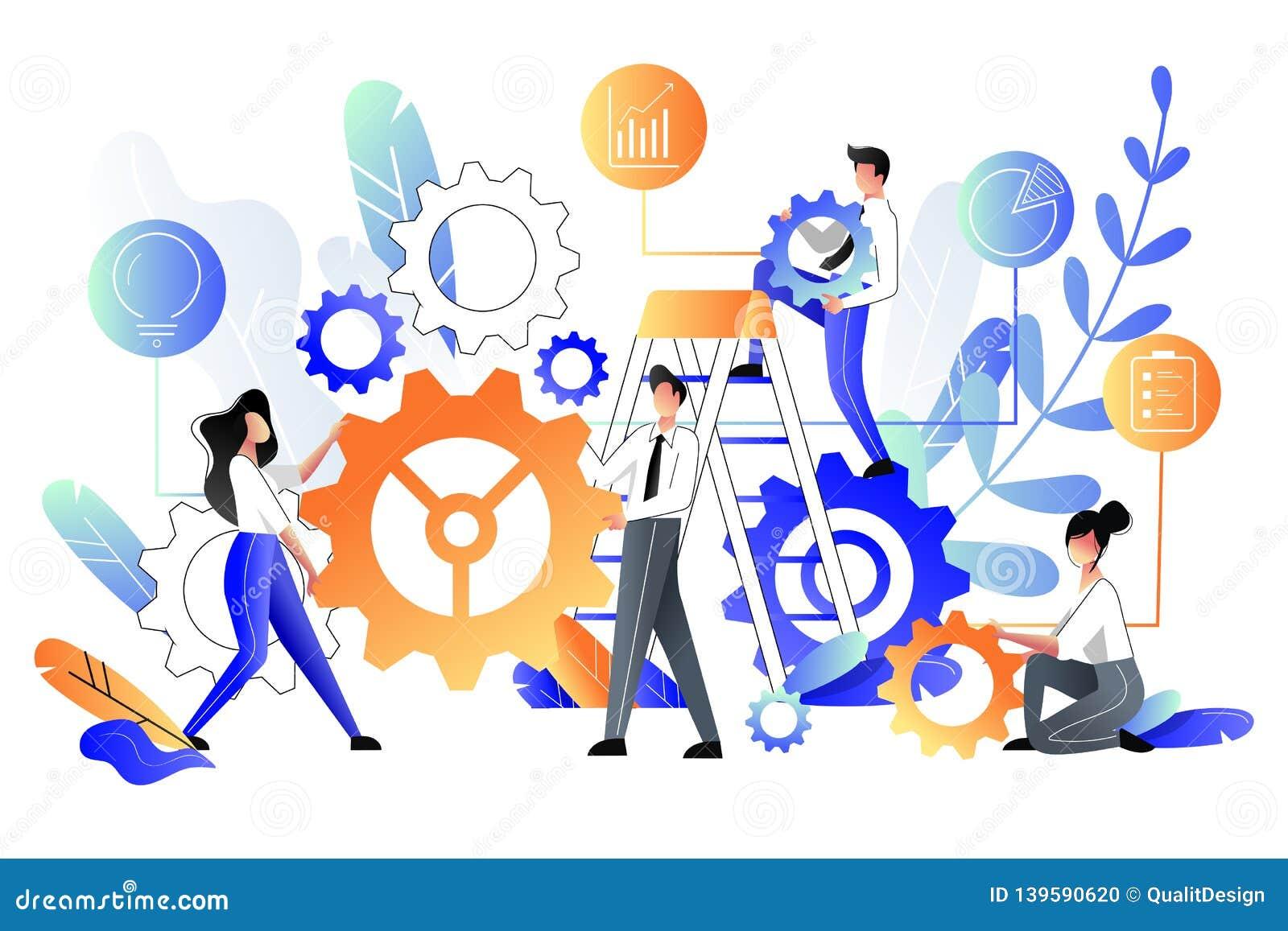 Os povos constroem a construção das rodas denteadas da engrenagem, metáfora do negócio Ilustração do vetor Conceito dos trabalhos
