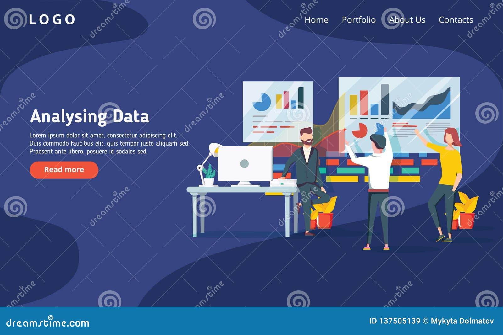 Os povos constroem um painel e interagem com os gráficos no escuro - backgroung azul Análise de dados, e situações do escritório
