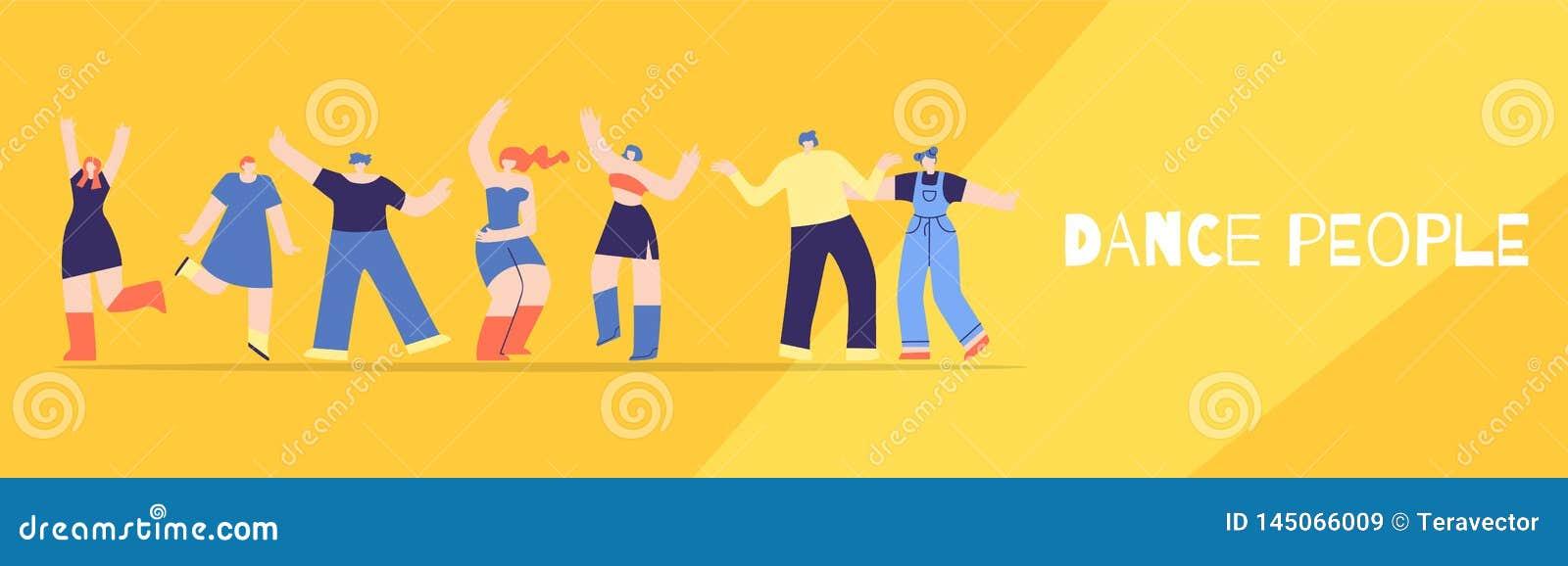 Os povos da dança batem o estilo liso da bandeira do festival do partido
