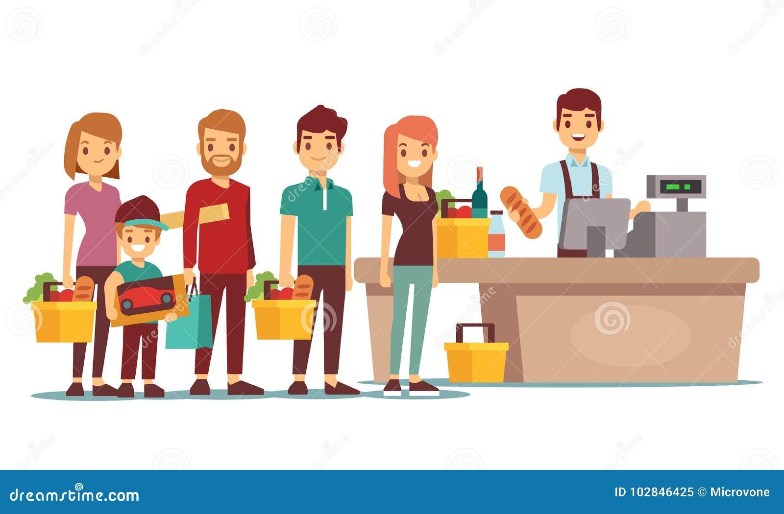 Os povos dos clientes enfileiram-se na mesa de dinheiro com o caixa no supermercado Conceito do vetor da compra