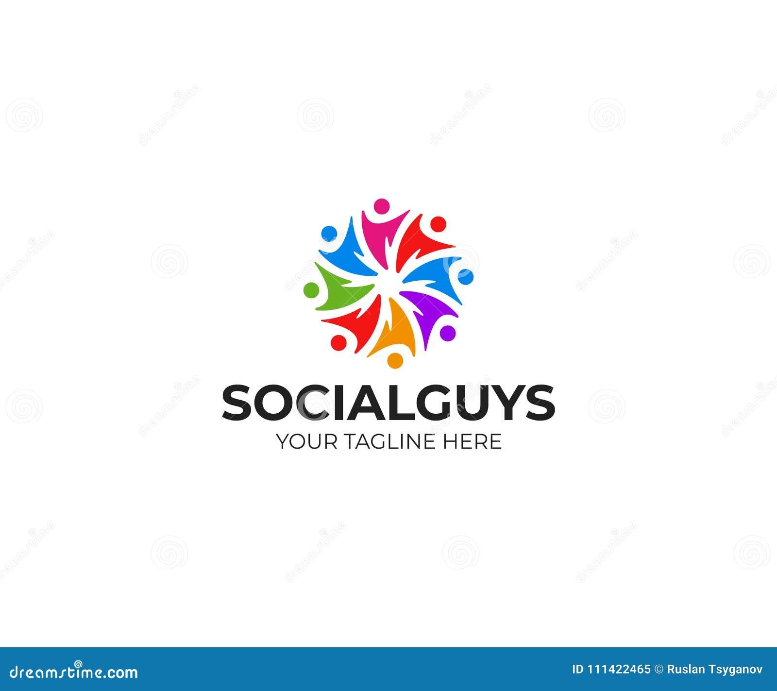Os povos dos trabalhos de equipa circundam o molde do logotipo, projeto social do vetor da comunidade