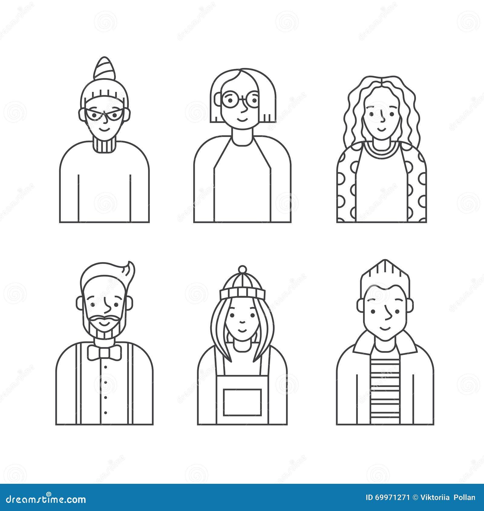 Os povos esboçam o vetor cinzento dos ícones ajustado (homens e as mulheres) Projeto de Minimalistic Parte seis
