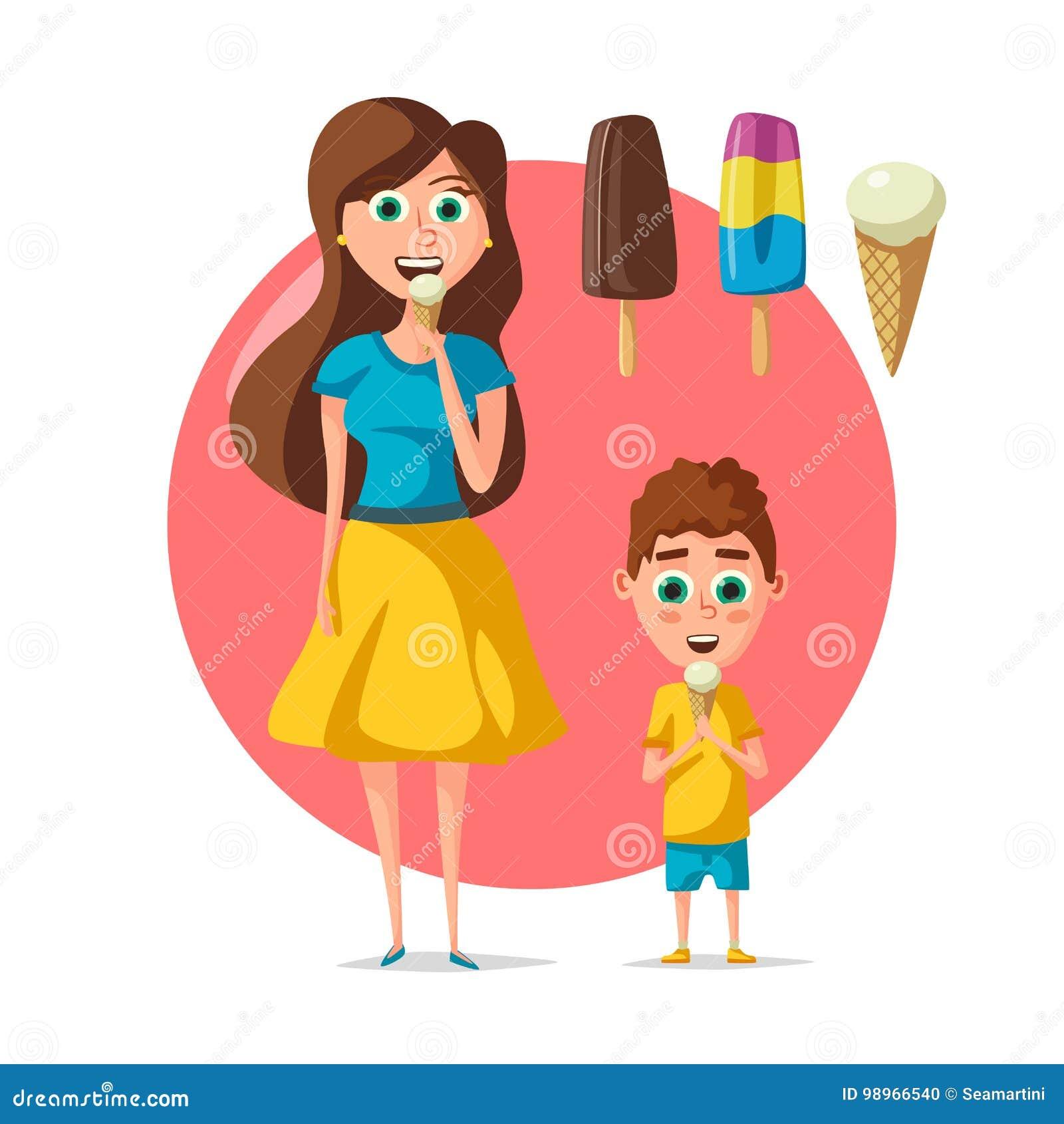 Os povos que comem o gelado vector a mulher ou a criança lisa