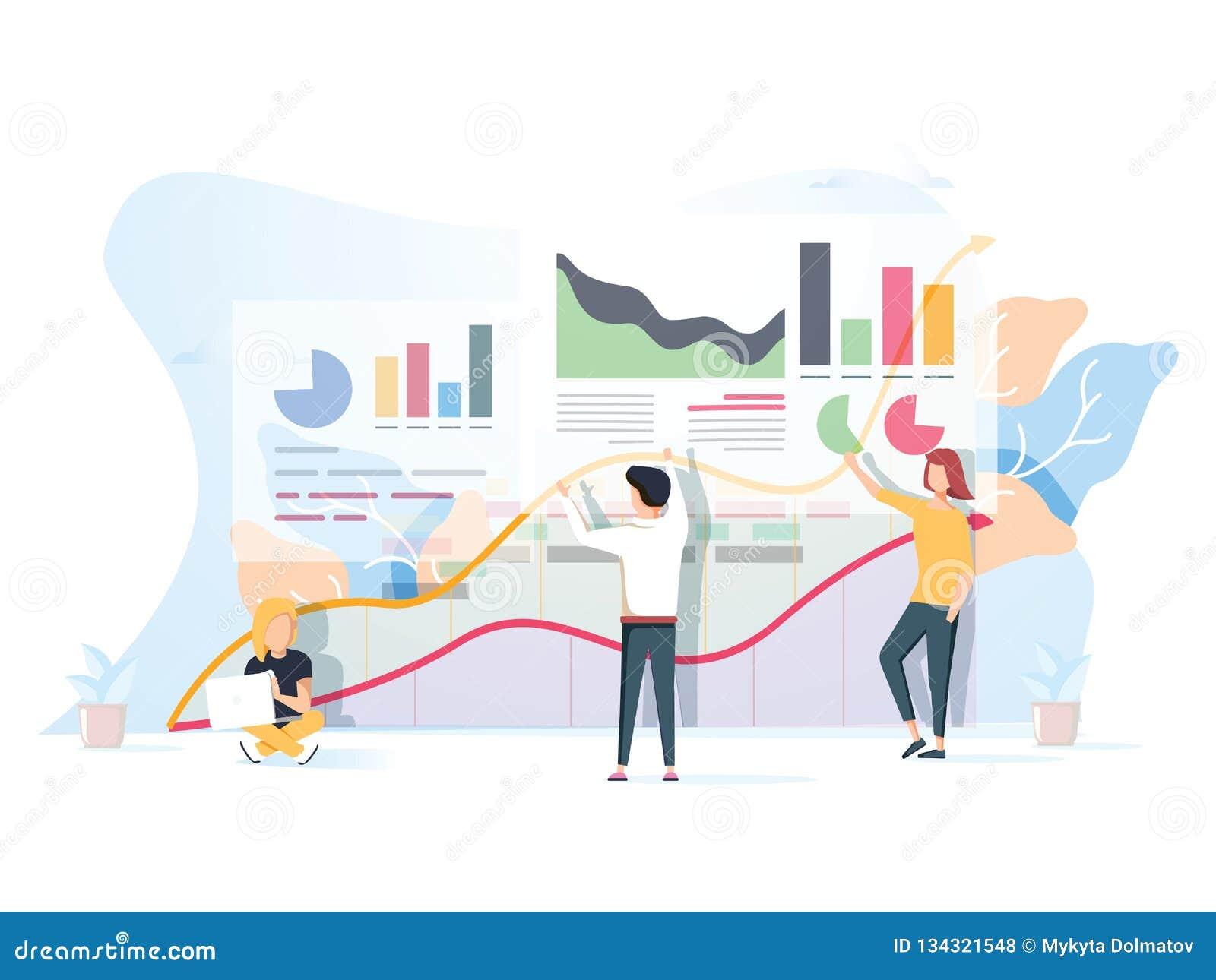 Os povos trabalham em uma equipe e interagem com os gráficos Negócio, liderança, gestão dos trabalhos, situações do escritório