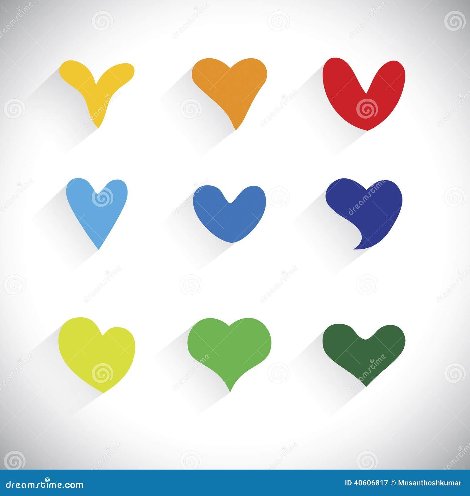 Os projetos lisos do coração colorido dão forma a ícones - gráfico de vetor